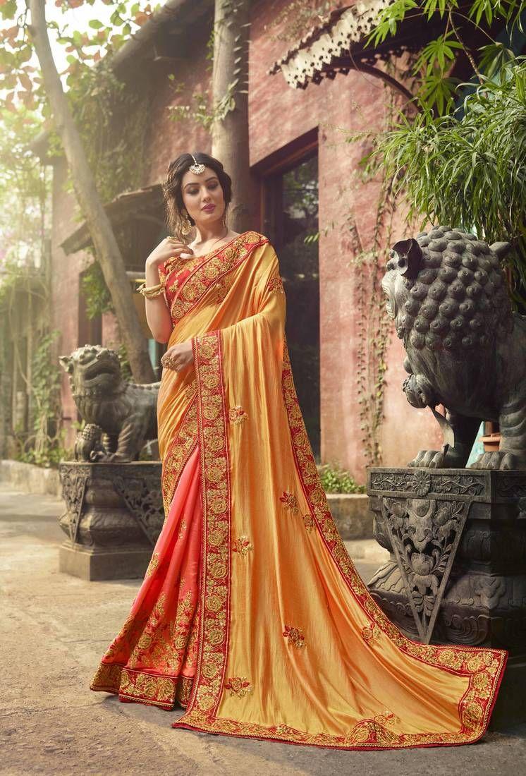 7863c65b6e2bfa Mustard Silk Designer Wedding Saree With Blouse, Embroidered Border and  Heavy Pallu.