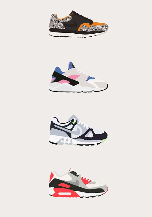 timeless design 0122c acfc3 Nike sneaker illustrations