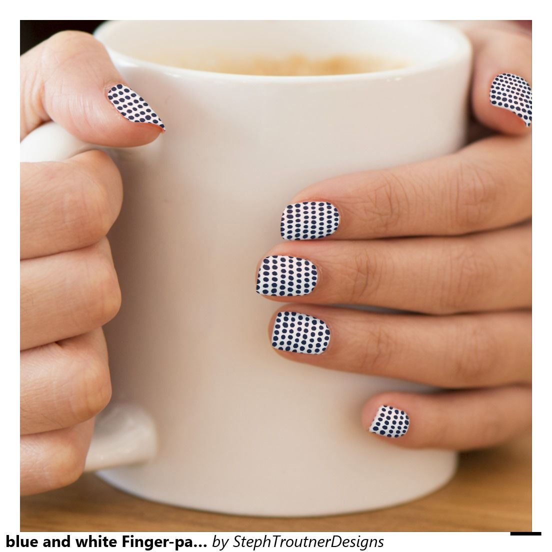 blue and white Finger-painted Polka Dots Minx® Nail Wraps
