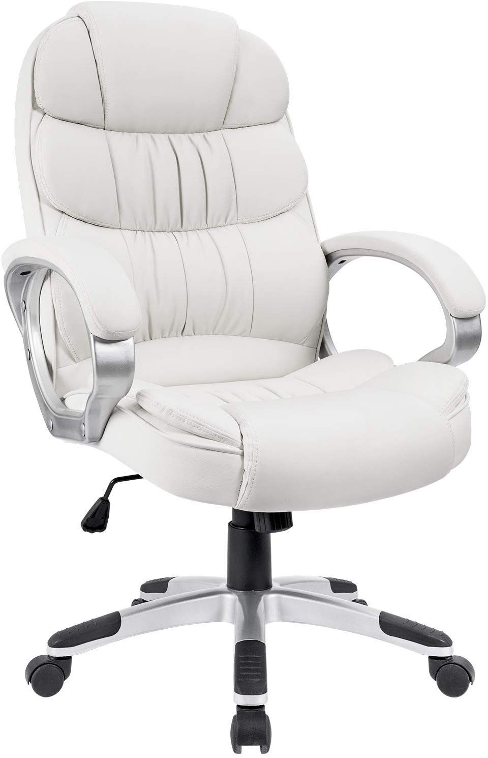 Homall Office Chair High Back Computer Chair Ergonomic Desk Chair Pu Leather Adjustable Height Modern Executive Swivel Task Chair With Padded Armrests And Lumb White Office Chair Ergonomic Desk Chair Comfortable
