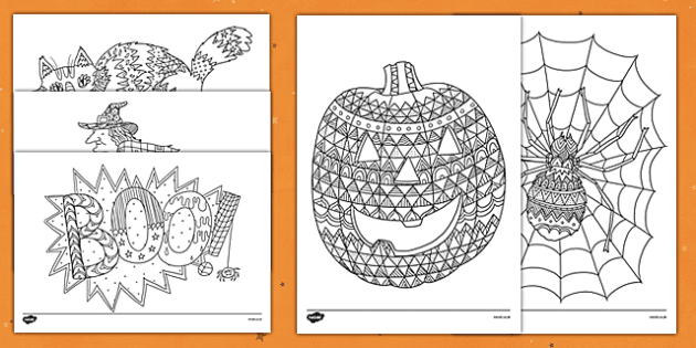 Halloween Themed Mindfulness Colouring Sheets - halloween ...