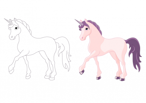 Coloring Pages For Kindergarten : Advanced coloring page u2013 unicorn unicorns and child
