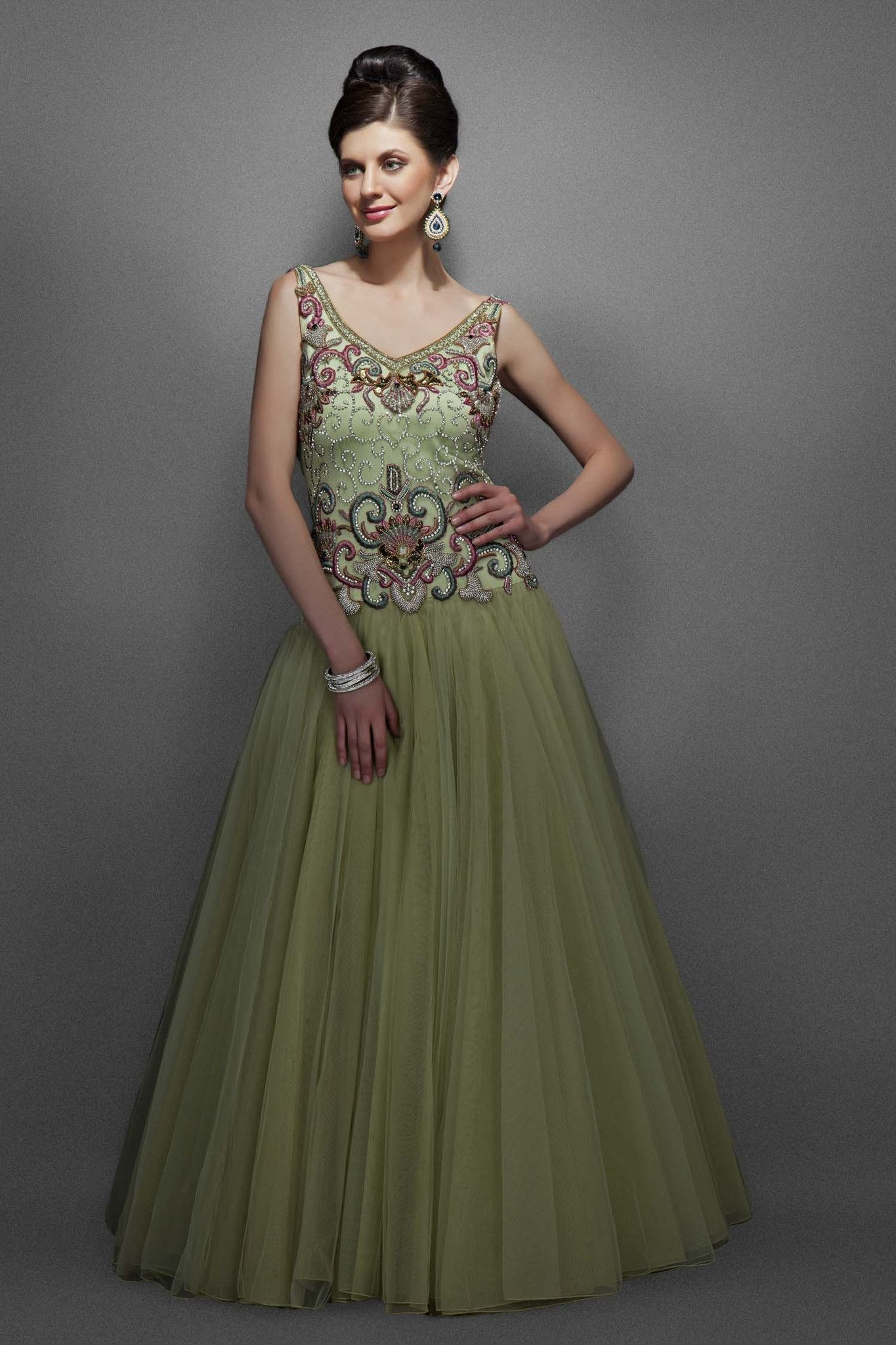 Dusky green color Indo Western bridal gown | Green colors, Bridal ...