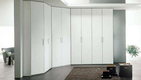 kleiderschrank design ecke weiß Schlafzimmer Ideen - schlafzimmer mit eckschrank