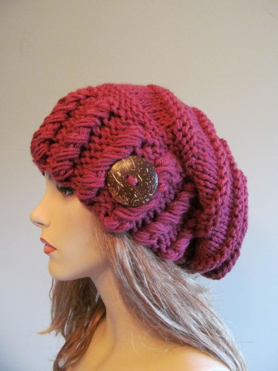 Slouchy Beanie Slouch Hats Oversized Baggy Beret by Lacywork  f88489f7534