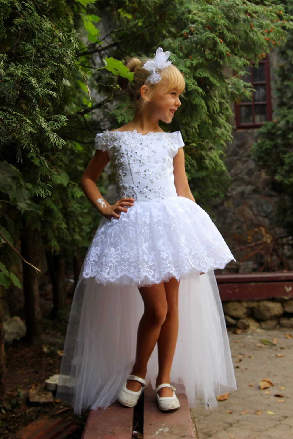 Lace white flower girl dress wedding party birthday peasant