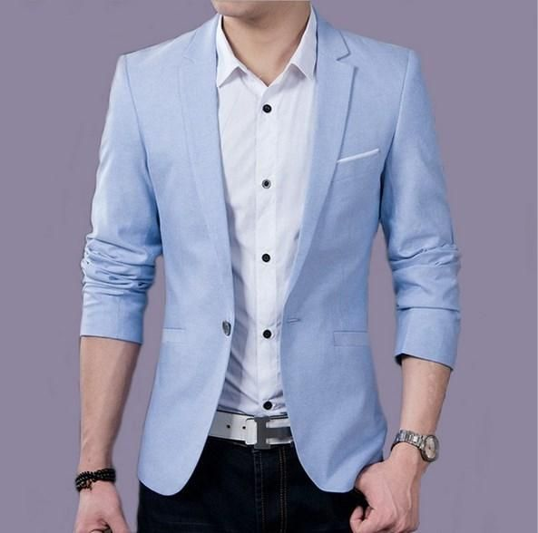 ebfd754561a Plus Size Mens Casual Blazer Jacket 5XL 4XL Spring Autumn Big Mens Dress Jackets  Black Blue