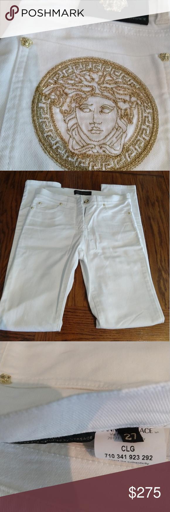 Versace White Medusa Logo Jeans White Skinny Jeans Womens Jeans Skinny Versace