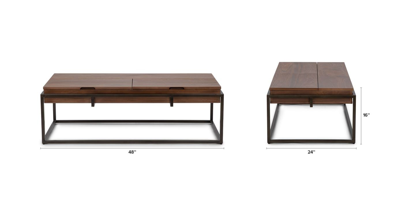 The Oscuro Coffee Table Features Natural Wood Grain Juxtaposed Against Brushed Metal For Coffee Table Mid Century Modern Coffee Table Coffee Table With Storage [ 709 x 1366 Pixel ]