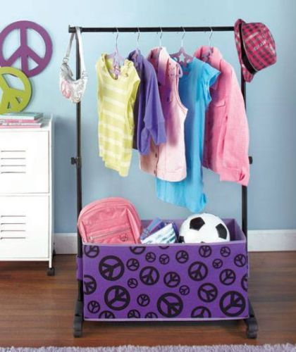 New Girls Rolling Clothes Rack w Storage Bins Dress Up Costumes Peace | eBay & NEW Girls Rolling Clothes Rack w/ Storage Bins Dress Up Costumes ...