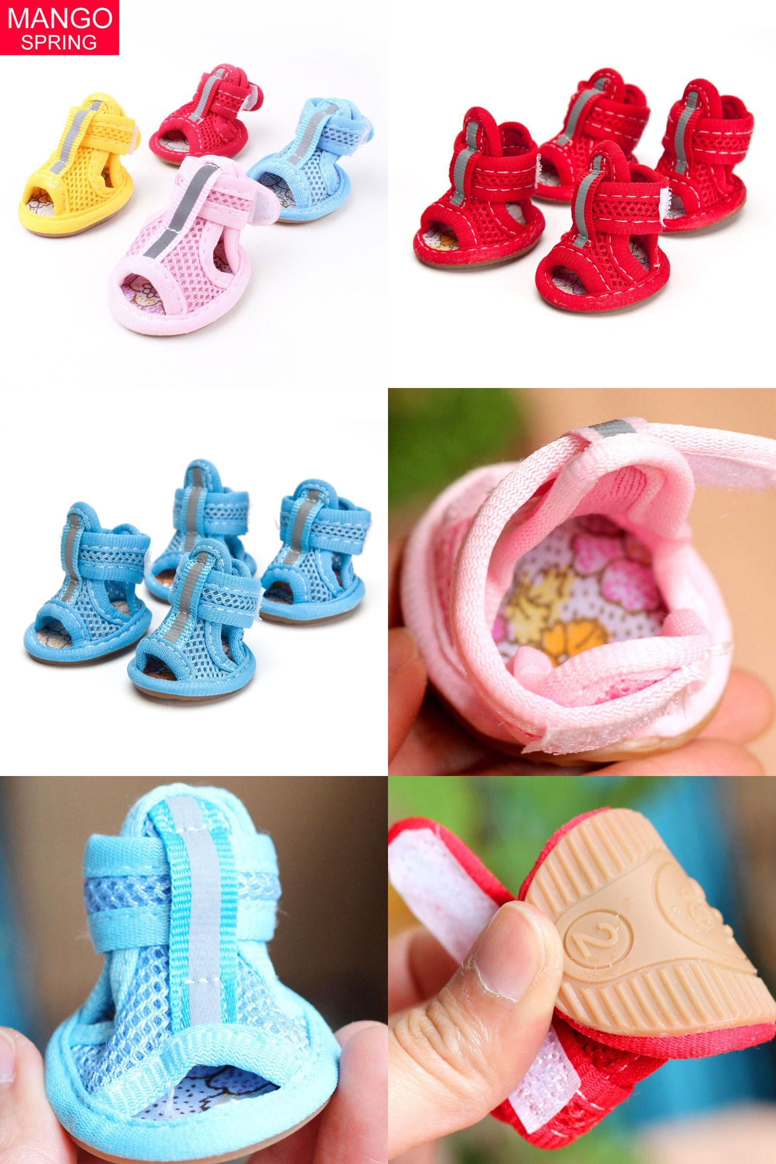 [Visit to Buy] 4pcs/lot Hot Sale Casual Anti-Slip Small Dog Shoes Cute Pet Shoes Shoe Spring Summer Breathable Soft Mesh Sandals Candy Colors #Advertisement