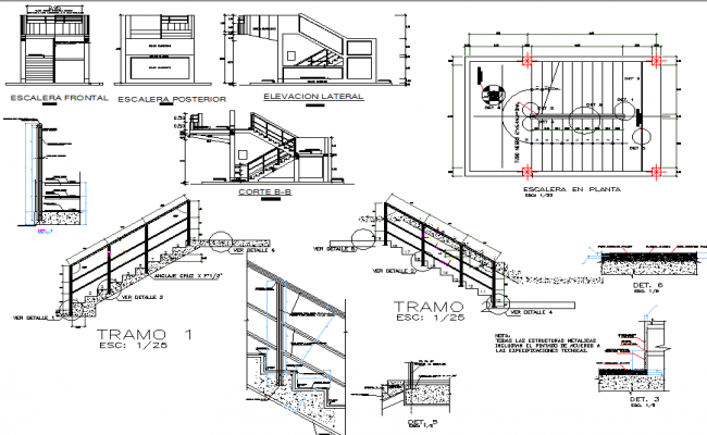 Stair Plan And Elevation Section Detail Dwg File Stair Plan Block Layout Construction