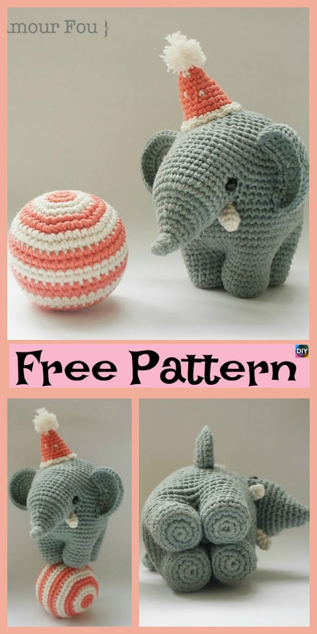 10 Crochet & Knit Amigurumi Elephant Free Patterns #crochetoctopus