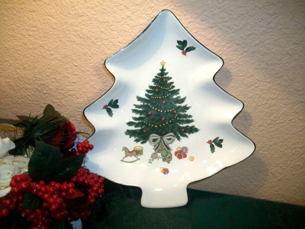 Christmas Tree Plate Mikasa Heritage Holiday Dish Serving Bowl Ceramic Tableware Christmas Tableware Holiday Tableware Tree Shapes
