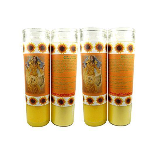 "Santeria Collection Ochun or Oshun Vela Amarilla Con Imagen a Todo Color Sets De 2 O 4 Velas (4). Se vende en sets de 2 o 4 velas. Vela grande - 8"". perfecto para su altar, su padrino o su madrina."