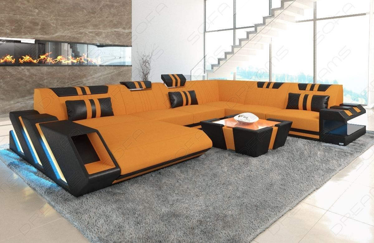 Fabric Sofa New Jersey Xl Shape Led With Usb Connection Luxury