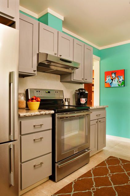 Gray Cabinets Aqua Turquoise Walls Contemporary Kitchen