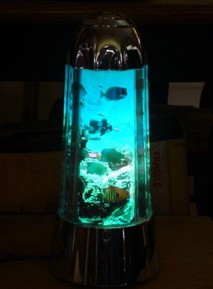 sea life aquarium lava lamp light night lite with swimming fish tropical plus. Black Bedroom Furniture Sets. Home Design Ideas