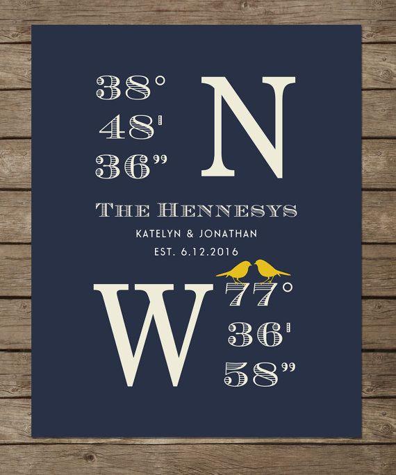 Latitude Longitude Sign House Warming Gift Bridal Shower