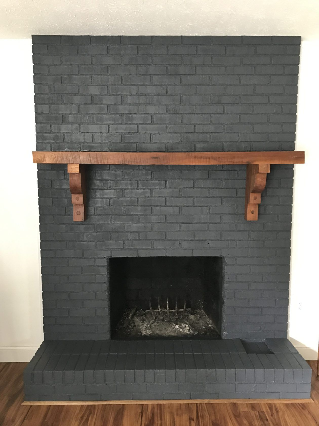 Painting Our Fireplace Grey   Brick fireplace remodel ...