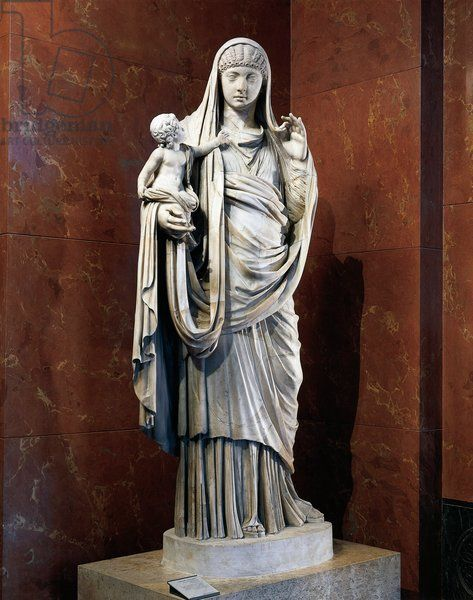 Marble Statue Of Messalina Holding Britannicus From Rome