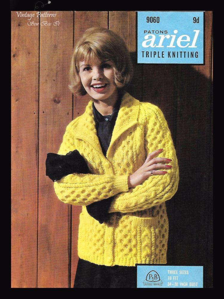 1960s Vintage Knitting Pattern Bubble Pattern Jacket Cardigan Bust