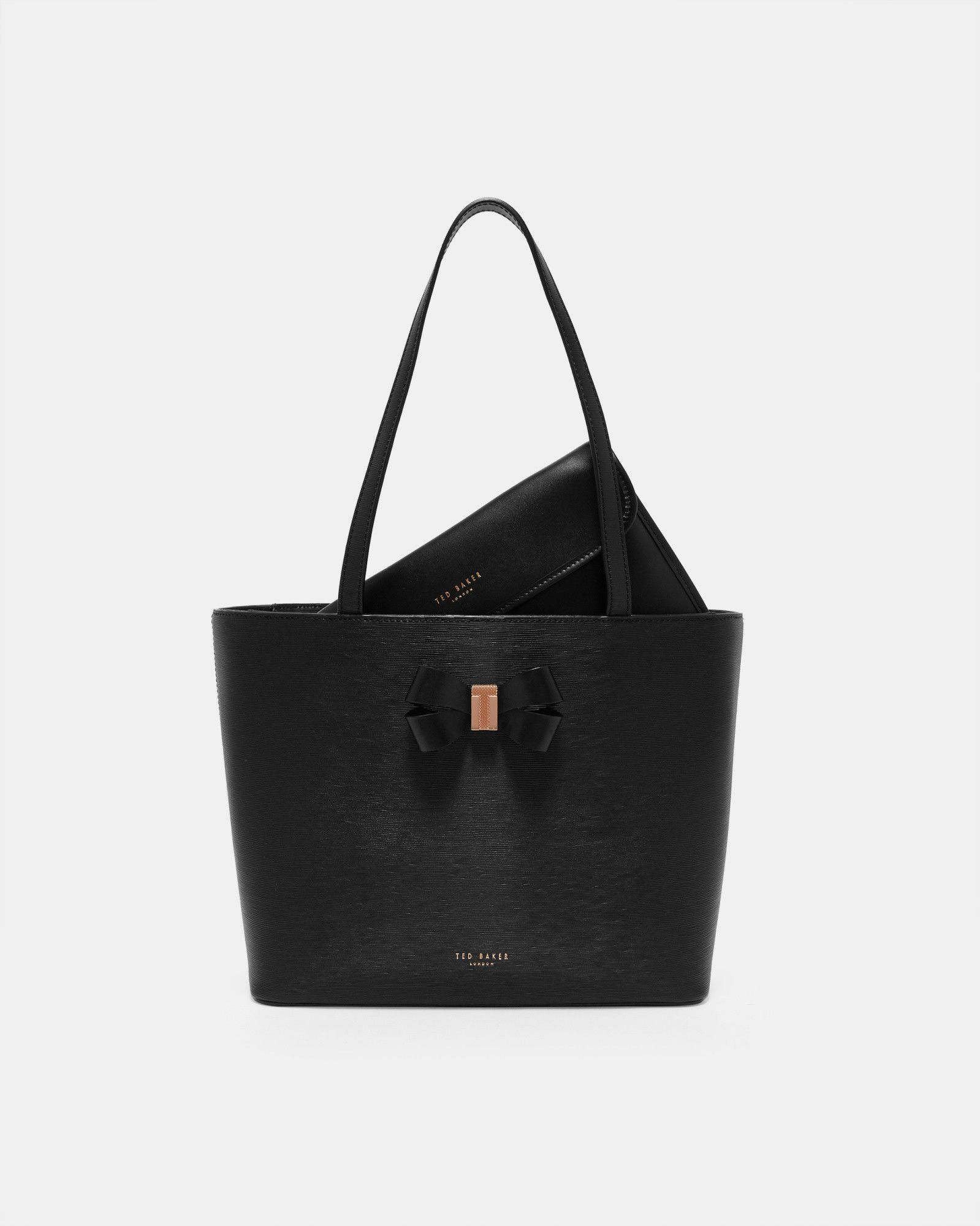 e8528efc3fc Ted Baker Bow detail small leather shopper bag Black | Products ...