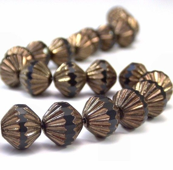 Jet Bronze 9mm Czech Glass Fluted Bead : 12 pc by BobbiThisnThat