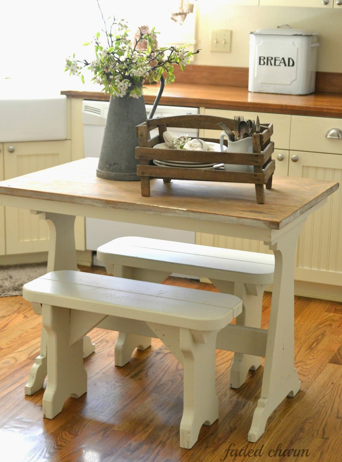 cute little tabe and benches on farmhouse kitchen small id=49804