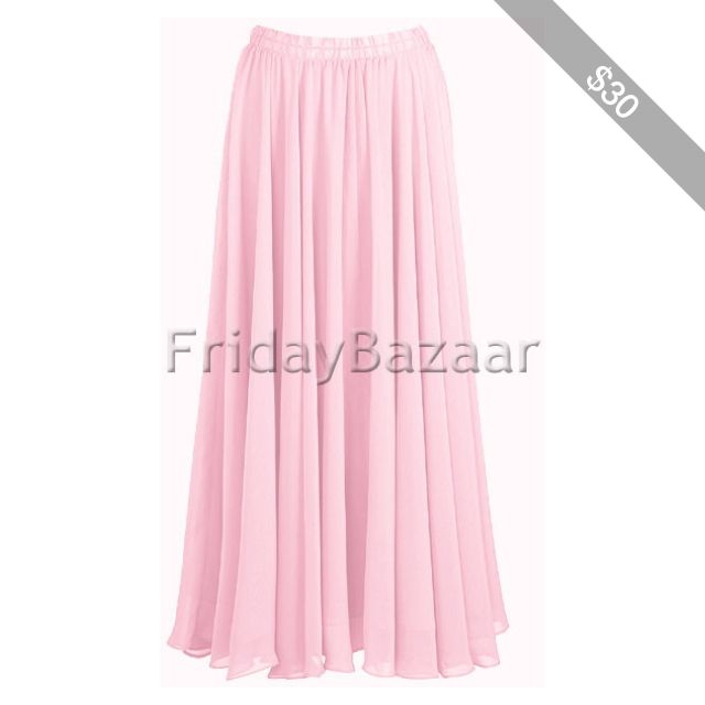 Pink Skirt Chiffon Skirt Full Circle Women Girl Maxi Skirt Long Skirt 2 Layer Skirt Belly Danc