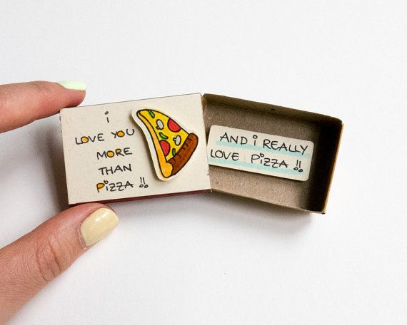 """Pizza Love Card/ Funny Card for Pizza Lovers/ Friendship Card for Foodies / Food Card/ """"I love you more than Pizza"""""""