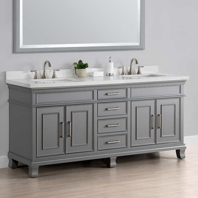 Charleston 72 Gray Double Sink Vanity By Mission Hills Bath