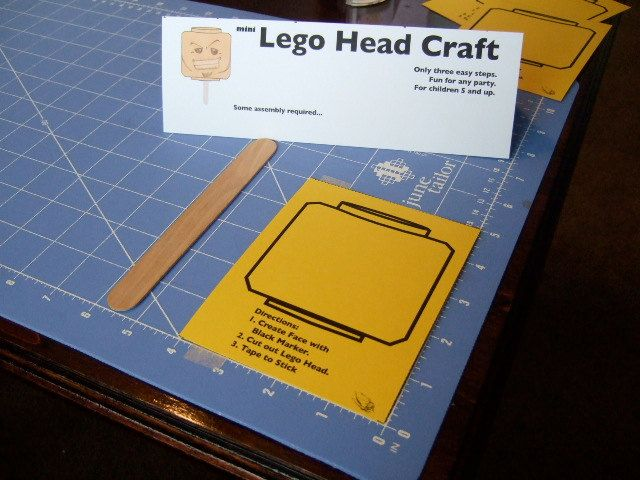 mini Lego Head Craft - design face, cut out, glue/tape to stick and ...