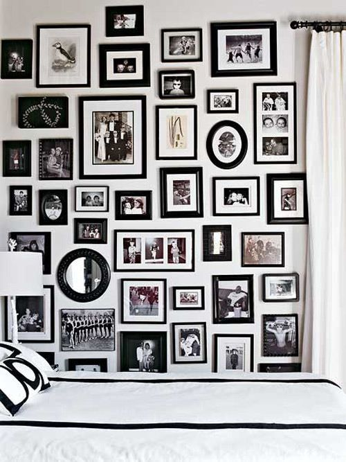 Wall frame collage for office with student pictures for Cornici nere ikea