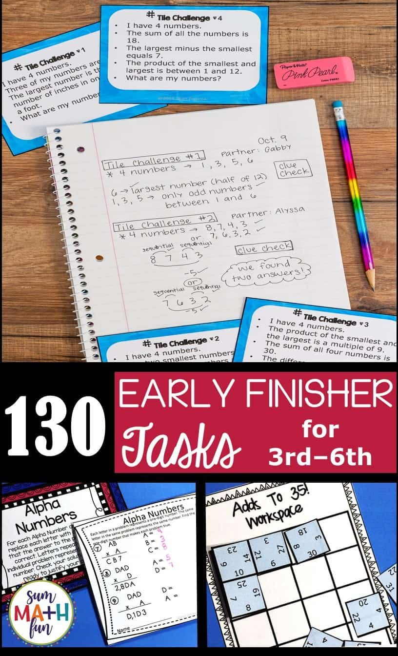 Early Finishers and Gifted Homework Extensions Bundled
