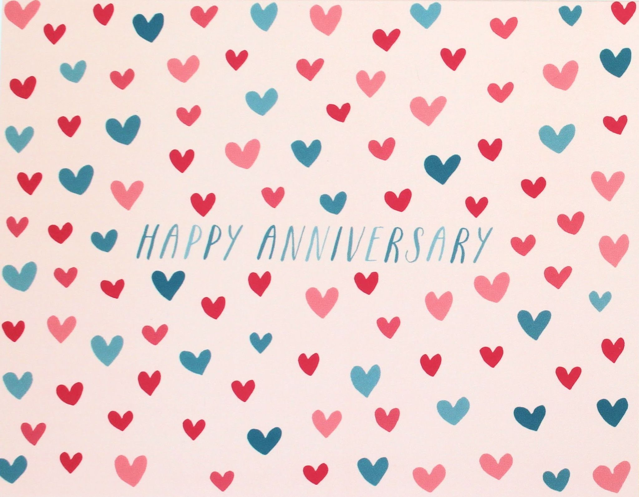 """Happy Anniversary"" Heart Pattern Card"