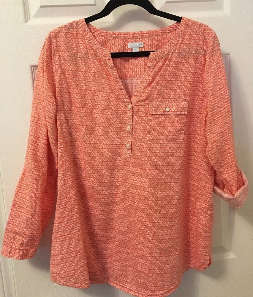 2d7ad2ea J. Jill Women's Size Medium 3 Button Breast Pocket Roll Tab Sleeve Top EUC  #fashion #clothing #shoes #accessories #womensclothing #tops (ebay link)