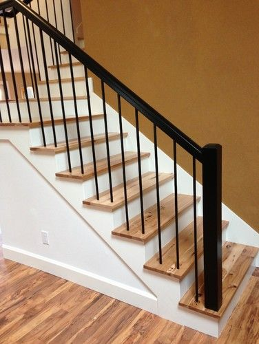 Best Rustic Hickory Stairs Contemporary Staircase 400 x 300