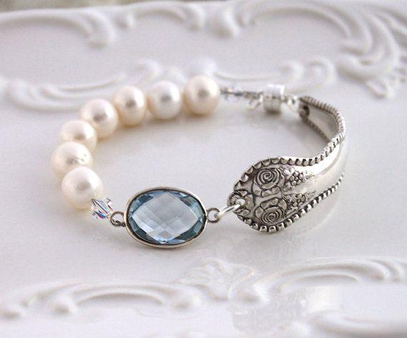 Antique Spoon Bracelet W Aqua Quartz Pearls Silverware