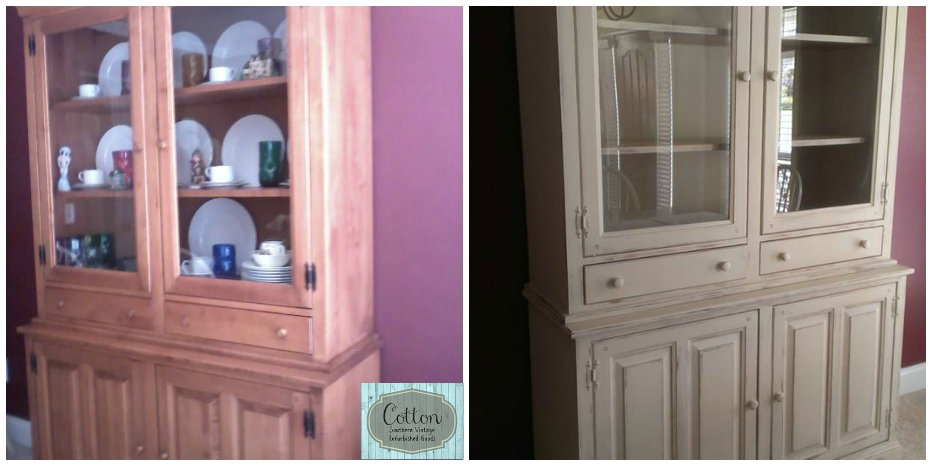 Before And After China Hutch Makeover For Dining Room Painted In Annie Sloan Chalk Paint