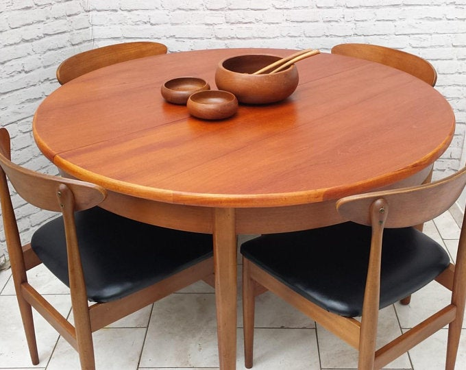 Soldmid Century Circular Dining Table And Four Chairs Teak Round Extending G Plan Era Black Vinyl Now Sold Circular Dining Table Dining Table Reupholster Chair Dining