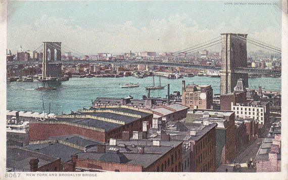 New York and Brooklyn Bridge NYC Landmark by EphemeraObscura, $6.50