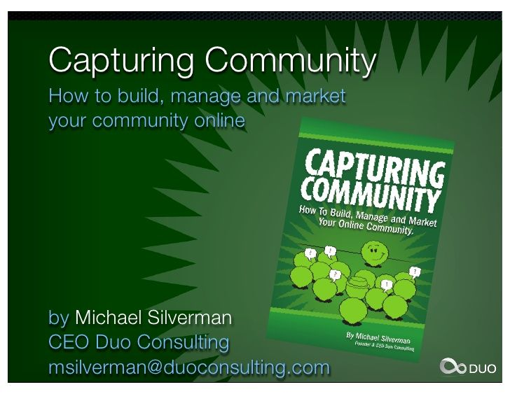 Link to my slideshare 'Capturing Community' overview