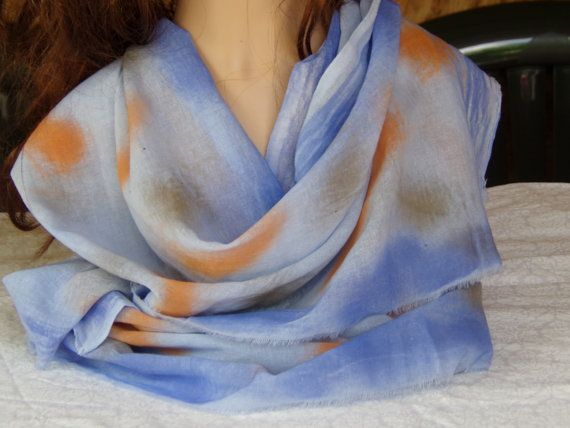 Beautiful Pure cotton scarf  in full handmade hand dyed by PepiZ, £15.00