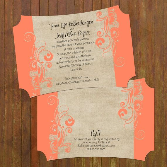 Coral Wedding Invitations Boutique Cut 133 By Gwenmariedesigns 250