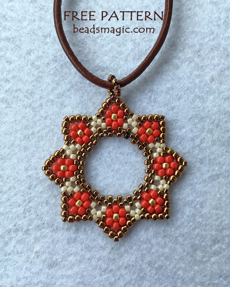 Free pattern for pendant Stella #beads