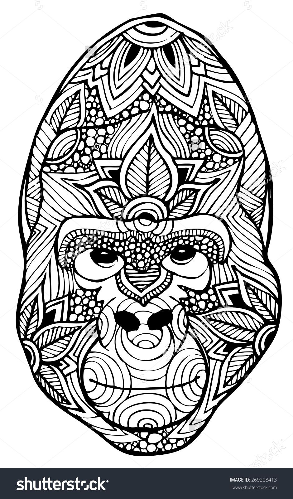 Gorilla Coloring Page Animal Coloring Pages Zentangle Mandala