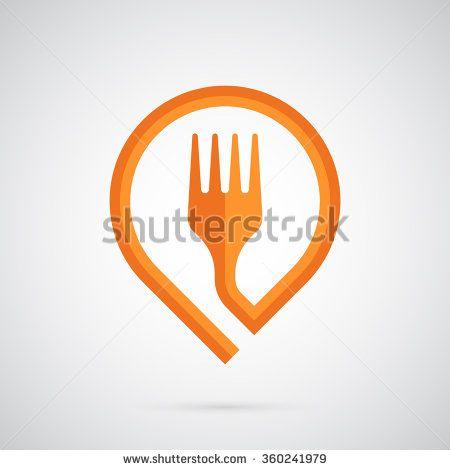 Fork logo template  Orange fork in the form of a marker