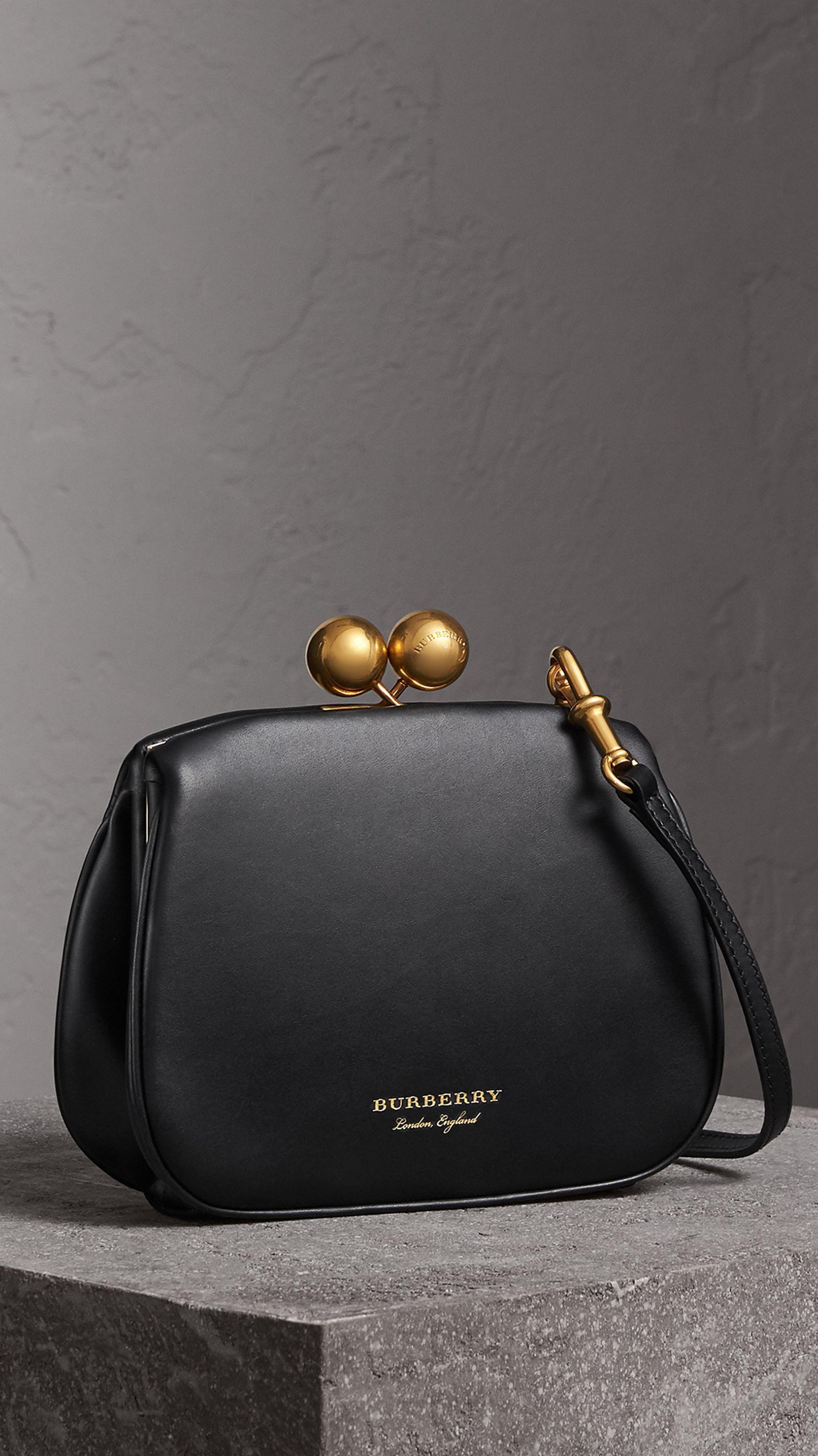 7008e85f96b4 Small Leather Metal Frame Clutch Bag in Black - Women