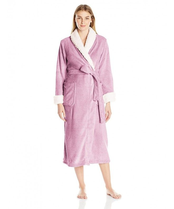 1bab2b796f Women s Frosted Plush Long Robe - Berry Ivory - C812I4JZ6T5 in 2019 ...